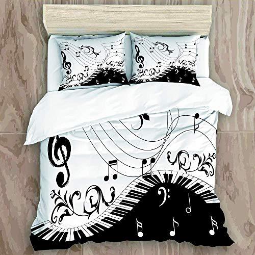 Bedding Juego de Funda de Edredón - Piano Música Notas Remolino Artista Abstracto Artístico Tablero Negro - Microfibra Funda de Nórdico y Fundas de Almohada - (Cama 200 x 200cm)