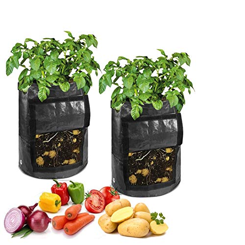 SHINEFUTURE Pflanzensack 7 Gallon Pflanzbeutel mit Klappe und Griffen Klettverschluss Fenster Gemüse Erdnuss Anzucht Box Eimer Topf für Transplanter Handrechen (35 * 50cm)