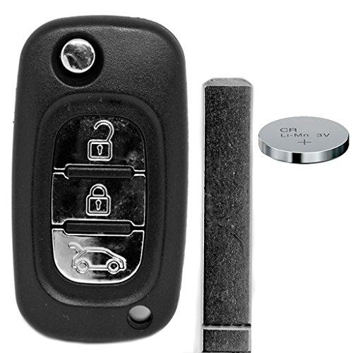 Carcasa plegable para llave de coche con mando a distancia de 3 botones y batería para Renault/Mercedes Benz