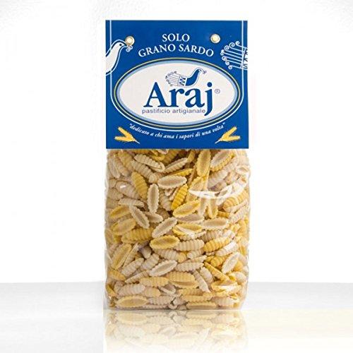 Malloreddus rustici allo zafferano Araj. 500 gr. Pasta tradizionale sarda, con grano duro Senatore Cappelli