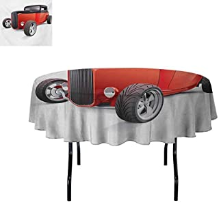 Cars Oil-Resistant and Durable Round Table Cover Nostalgia Red Hot Rod American Culture Retro Revival Classics Collectors Car Kitchen Available D43.3 Inch Red Black White