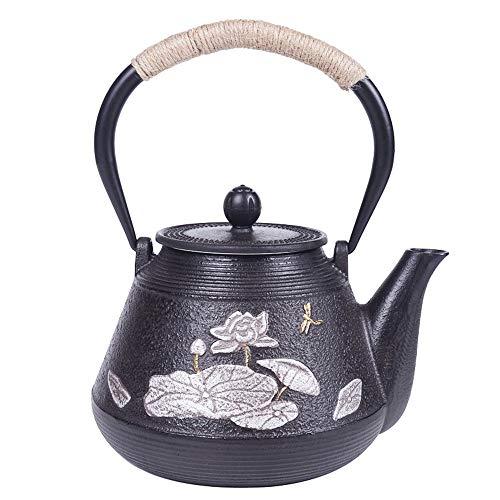 EXCLVEA Gusseiserne Teekanne Gusseisen Schwarztee 1200 Ml Sogar Leitung Und Rostbeständigkeit for Eine Vielzahl Von Tee Oder Anderen Getränken Erhitzen für grünen Tee oder Teebeutel