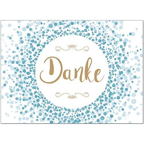 15 x Dankeskarten mit Umschlag - Konfetti blau - Danksagungskarten, Danke sagen, nach Hochzeit, Geburt, Baby, Taufe, Geburtstag, Kommunion, Konfirmation, Jugendweihe