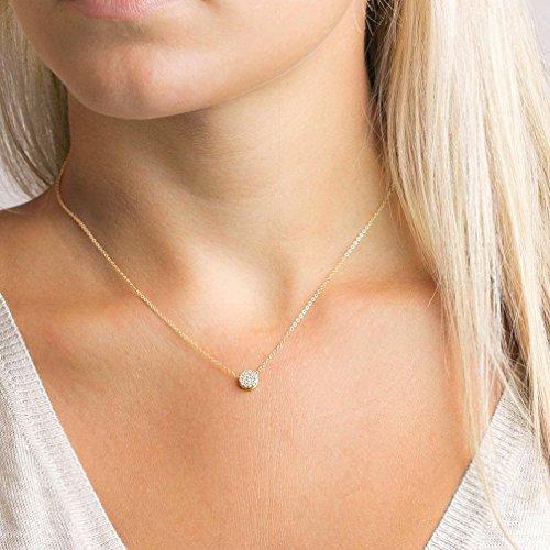 Tiny Dot Pendant Necklace,Dainty 14K Gold Filled Sterling Silver Round Dot Circle CZ Choker Necklace Jewelry Gift for Women( NCK-CZ-dot)