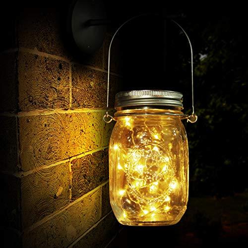 Lampara de Decoracion Solar para Jardin, Luz Solar, 20 LED, Lampara de Ahorro de Energia e Impermeable para Interiores/Exteriores, Mesa, Festival y Lampara de Decoracion de Fiesta de Bodas (20 LED)