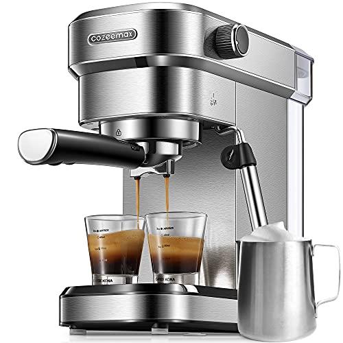 Cozeemax Cafetera de Bomba de Acero Inoxidable para Café Molido o Monodosis, Cafetera para Espresso y Cappuccino, Depósito de 1.1 Litros, Sistema Anti-goteo, , Metal 31x31x14cm