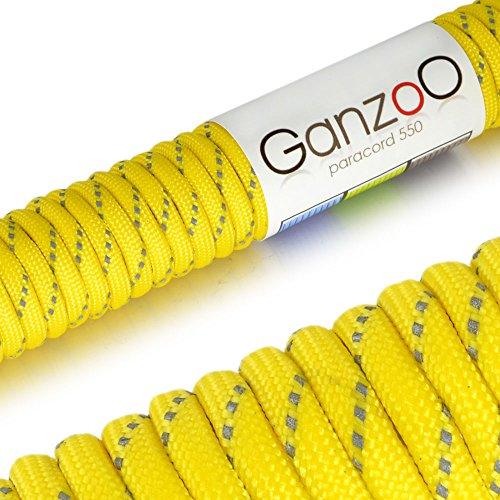 Ganzoo REFLEKTIERENDES, universell einsetzbares Survival-Seil aus reißfestem Parachute Cord/Paracord 550