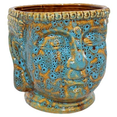 Ceramic Buddha Head Planter Pot Zen Succulent Plant Pot Pen Holder Pencil Cup Brush Holder Pot Remote Controller Holder Desk Organizer Home Office Room Decor Multi-use 4.5x5.5x4.75'h (Blue/Brown)