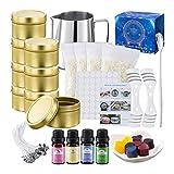 Kit de fabricación de velas de bricolaje con tarro de cera de abeja, caja de velas, cuchara de regalo para mujeres y niñas, ideal para bodas, vacaciones, fiestas, decoración del hogar