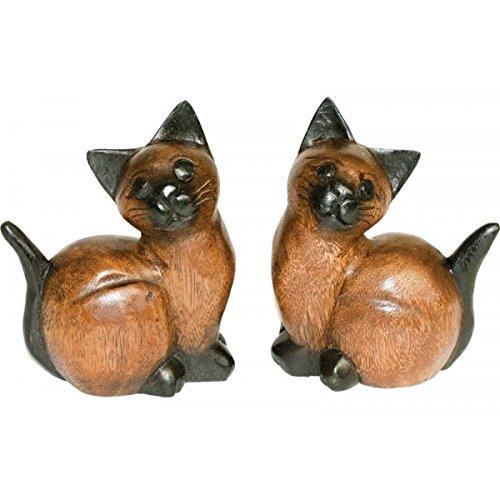 Holzkatzenpaar 2er Set Holzkatzen Holz Katze Akazienholz Holzfigur Holzdeko