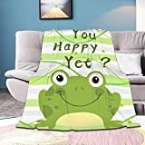 Padmasriya Frog You Happy Yet Flannel Throw Blanket Lightweight Cozy Soft for Couch Bed Sofa Queen King All Season Summer Winter 40'x30'for pet