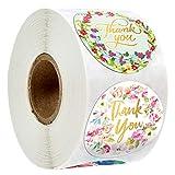 Grazie Adesivi, 500 Thank You Floreale Lamina d'oro Autoadesivo Etichette Round Baking Sticker kraft etichette adesive, Rotolo Fai da Te Decorativo Adesivo (8 stili)