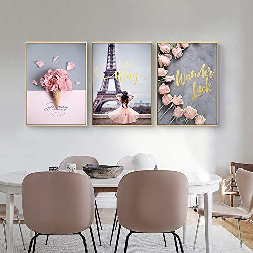LCSD Mural Nordic Pink Life Pintura Decorativa 3 Unids/Set De Marco De Imagen De Oro Pintura Mural De La Pared 30 * 40 CM Simple Sencilla Sala De Estar En Casa Sofá Hotel HD Micro Spray
