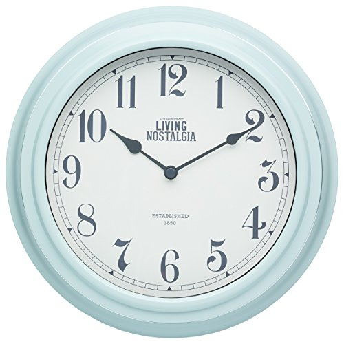 Kitchen Craft 25,5 cm Living Nostalgia Reloj de Pared para Interiores, Vintage Azul