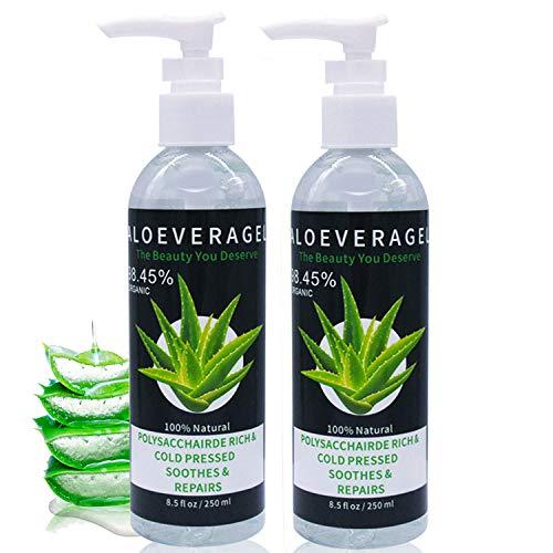 J TOHLO Aloe Vera Gel -2 pack 99% Bio Gel Hydratant Visage,Pour Visage Mains Corps Cheveux Réparer les Cicatrices,Crème Hydratante Naturelle, non Collant,gel d'aloès-500ml