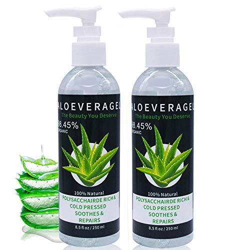 J TOHLO 2 Pack Aloe Vera Gel-Rein und Natürlich,Vegan,Beruhigende und Pflegende Feuchtigkeitscreme,Für Haare,Gesicht,und Körper,Entlasten Strapazierte Haut & Sonnenbrand-500ml