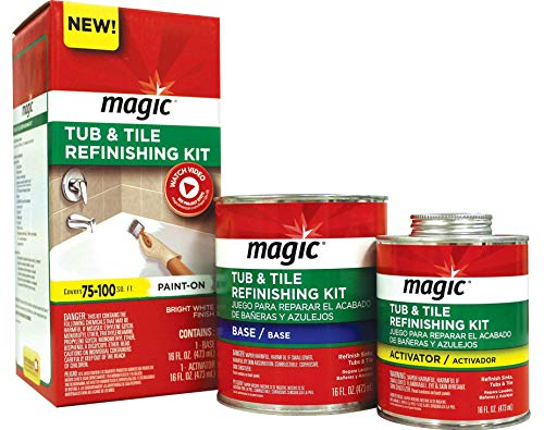 Magic Tub and Tile Refinishing Kit - Bright White - Paint On - Works On Ceramic Porcelain Acrylic Fiberglass Surfaces