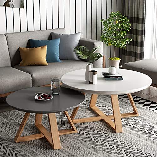HAIYANG salontafel eenvoudige bank ronde tafel, massief houten poten, milieuvriendelijke MDF, eenvoudig te monteren (set van 2)