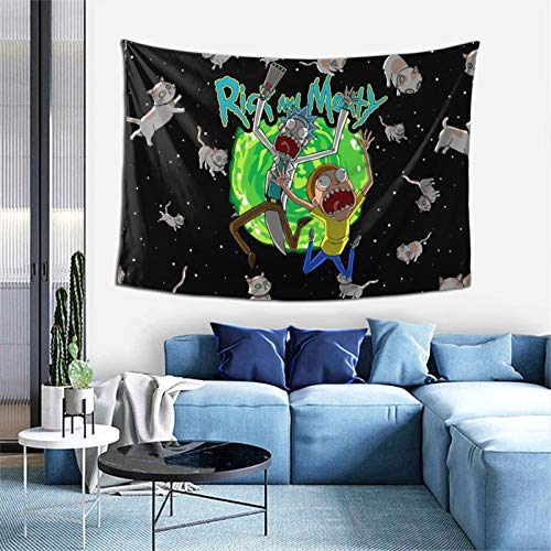 GIPHOJO Cartoon Tapestry Rick and Morty Cats Wall Hanging Anime Wall Art Tapestry Warm Green/Black Beach Blanket 60 x 40 inch for Bed Room Home Office Dormitory Apartment Gift