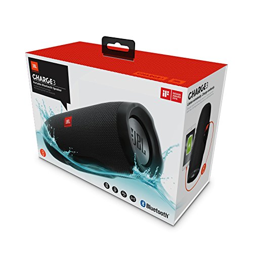 Caixa de som portátil jbl charge 3, primeira linha, resistente a água, nas cores azul, preto, vermelho e cinza.
