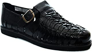 Gordini Mens Interlaced Leather Summer Shoe Sandals Black Mens Size