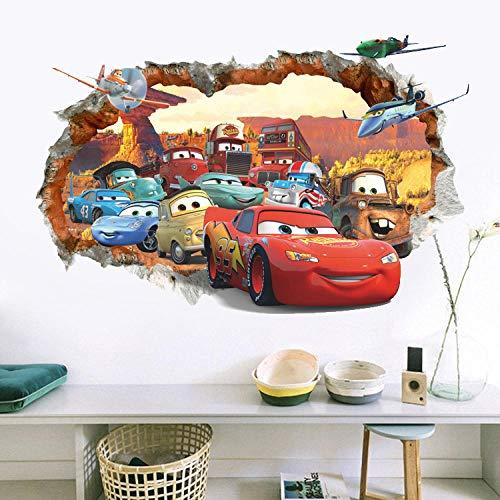 DCJ etiqueta de la pared 3D Stereo Vision Cartoon Car Racing Car Travel Maleta Etiqueta de la pared Sticker Wallpaper Pintura decorativa