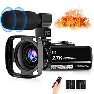 toberto 2.7K Camcorder Video Camera Night Vision Digital Camera Recorder Ultra HD YouTube Vlogging Camera 36MP IR 16X Digital Zoom 3 inch IPS Touch Screen Video Camcorder with Microphone Lens Hood from toberto