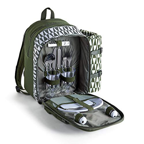VonShef Picnic Backpack for 2 with Insulated Cooler Compartment - Includes Picnic Blanket and 17 Piece Picnic Cutlery/Dinning Set - Green