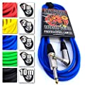 """Premium Guitar/Instrument Cable (Blue, 10ft / 3m, Straight to Right Angle Plugs) - Heavy Duty Pro 1/4"""" Jack to Jack Noiseless Mono Lead - Coloured Link Lead to Amplifier/Amp + Cable Tie"""