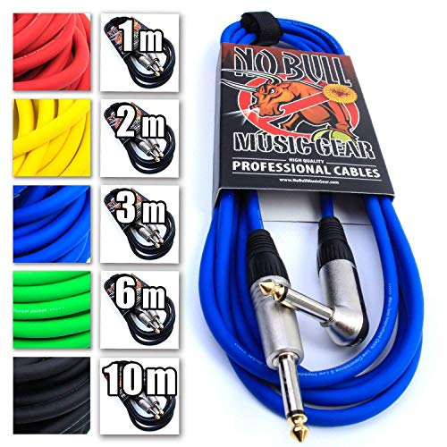 Premium Guitar/Instrument Cable (Blue, 10ft / 3m, Straight to Right Angle...