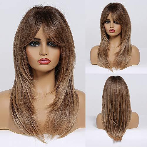 HAIRCUBE Langschichtige Synthetische Haarperücken für Frauen Ombre Farbe Schwarz-Braun bis Braun mit Dunklen Wurzeln
