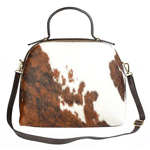 Damen Handtasche aus feinem Rindsleder, Vorderseite aus echtem Kuhfell! Trachtenaccessoire, Tasche
