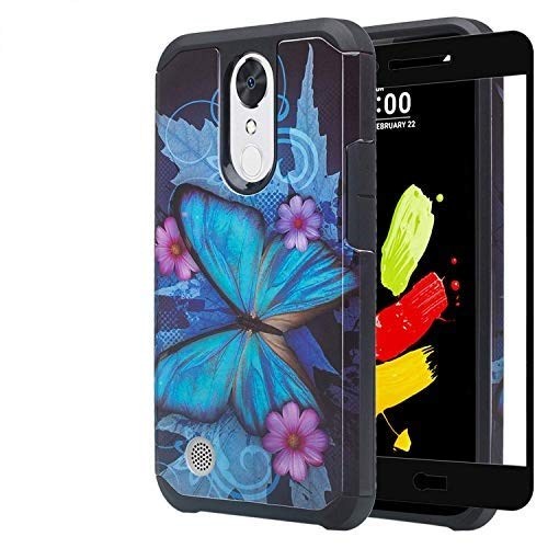 Coolpad Illumina Case/Coolpad Legacy Go Case w/Tempered Glass Screen Protector Silicone Hard Case Shock Proof Protective Cover for Illumina 3310/3310A - Blue Butterfly