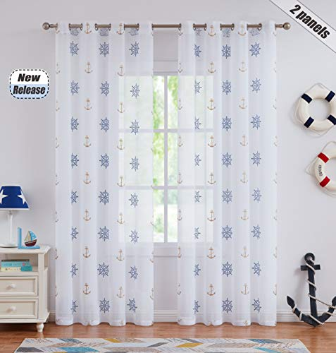 """Ronaldecor White Blue Gold Sheer Curtain Panels Sailing Theme Sheer Anchor Embroidery Rod Pocket Window Treatment Drapes for Living Room, Kid Bedroom,Toy House,55""""x63"""",2 Panels"""
