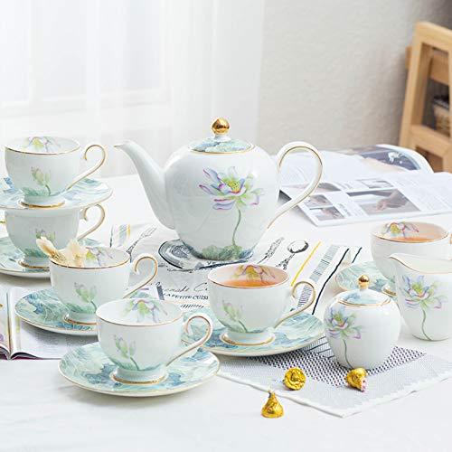 XJAXY Conjuntos de Regalo de café de cerámica de cerámica de 15 Piezas, Tazas y Servicio de platillo para 6, Tetera, azúcar, Jarra de Crema, Taza de café y platillo, con colador de té