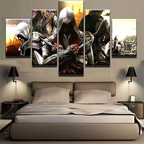 SHANYUR Bilder Vlies Leinwandbild Kunstdruck modern Wandbilder Wanddekoration Design Wand Bild 5 Teilig Assassin's Creed 100/80/60x40(cm) Frameless