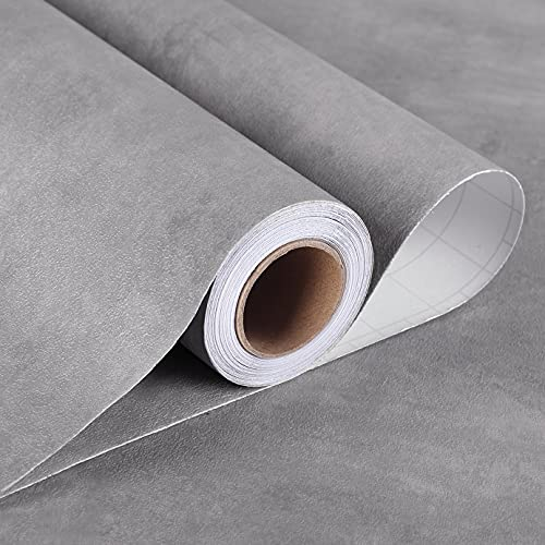 Stickyart 36'x160' Textured Cement Countertop Contact Paper Matte Stained Grey Concrete Contact Paper Self Adhesive Vinyl Film for Furniture Removable Rustic Concrete Wallpaper for Bathroom Waterproof