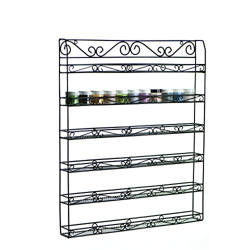 AMT HIGH - QUALITY Metal Nail Polish Racks for The Wall | Clear Nail Polish Display | Young Living Essential Oils Organizer (120 Btls or 60 Jars - Black)