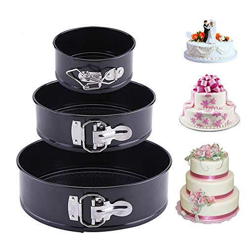 """3 Pieces/Set Non-stick Springform Leakproof Cake Pans, Professional 4"""" 7"""" 9"""" Round Cake Mold and Baking Bakeware Set with Removable Bottom"""