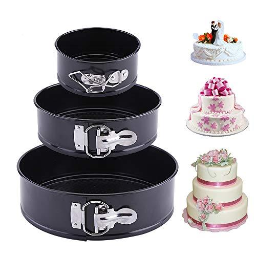 Latauar Springform Cake Pan 3 pièces/Ensemble moules à gâteaux Anti-adhésifs à Forme élastique, Moule à gâteau Rond Professionnel 11 cm, 18 cm, 23 cm et ustensiles de Cuisson avec Fond Amovible