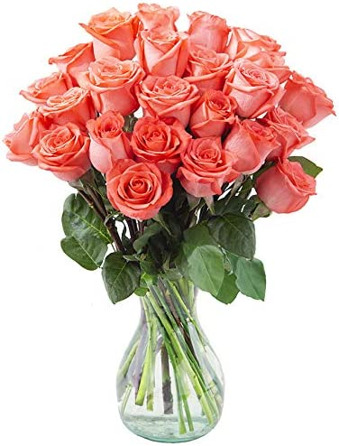 Arabella Bouquets 24 Fresh Popular standard Ranking TOP6 Cut Orange Vase with Roses