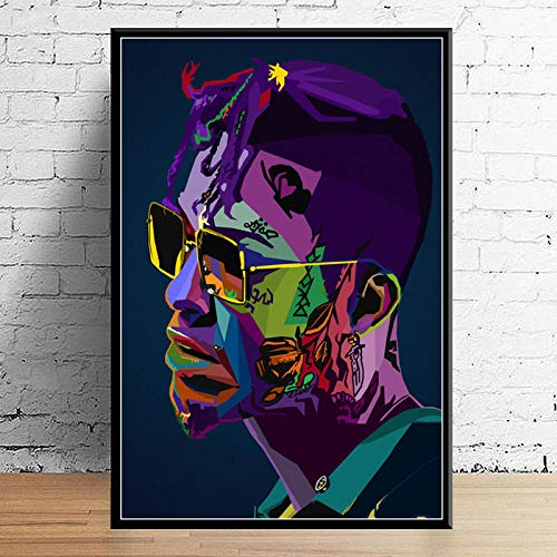 Art Deco Jud Wrld J Cole Post Malone Mac Miller Travis Scoot Rapper Hip Hop Wall Art Canvas Painting Silk Poster-42X60cm sin Marco