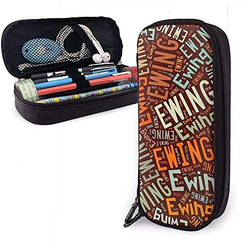 Ewing - American Name Hochleistungs-Federmäppchen aus Leder Schreibwarenhalter Organizer College Marker Pen Stuff Reisetasche