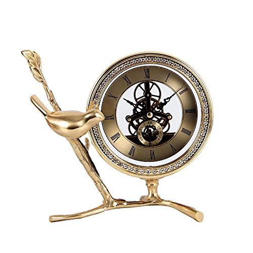 DAMAI STORE Luz De Lujo Moda Creativa Reloj De La Sala De Estar del Reloj De La Sala De Estar del Pequeño Pájaro De Cobre Puro Reloj De Cobre Decoración del Hogar