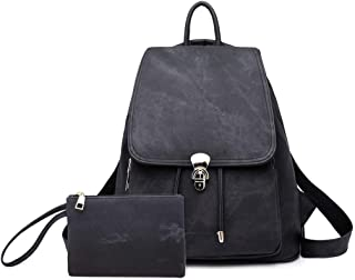 COOLBABY Casual Backpack Women Rucksacks Vintage Travel Anti-theft Youth Girl Backpack Trekking School Bags for Girls (Bla...