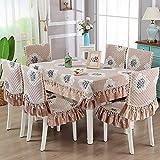 WATBST Tablecloth Chair Cloth Set Mantel De Poliéster Cubierta De Mesa Rectangular Cocina Comedor Fiesta En Interiores O Exteriores (6 Fundas Asientos + Mantel De 150 * 200cm)