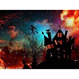 DIY 5D Diamond Painting by Number Kits, Diymood Painting Halloween Starry Sky Haunted House Paint with Diamonds Arts for Adults Full Drill Canvas Picture for Home Wall Decor 40x50cm(16x20inch)
