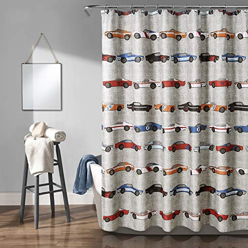 Lush Decor 16T003145, Blue & Orange Race Cars Shower Curtain, 72' x 72'