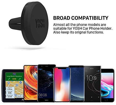 Car Phone Holder YOSH Pack of 2 Magnetic Cell Phone Holder for Car Air Vent Car Cradles Mounts for iPhone X 8 7 Samsung Galaxy S9 S8 Huawei Wileyfox Doogee Sony Moto Xperia, etc for GPS devices.