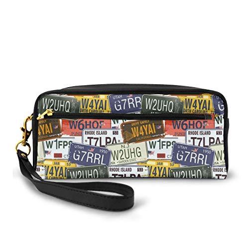 Pencil Case Pen Bag Pouch Stationary,Retro American Auto License Plates Utah Washington Rhode Island North Carolina Print,Small Makeup Bag Coin Purse